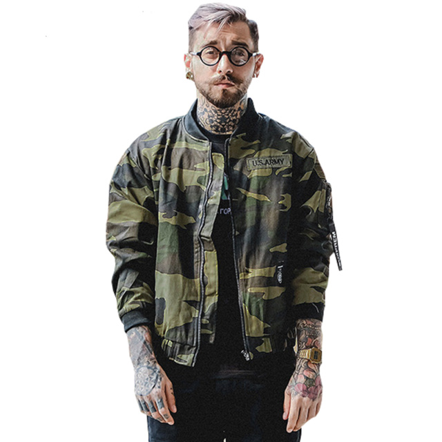 GUYMAN  EMBROIDERED CAMO BOMBER JACKET