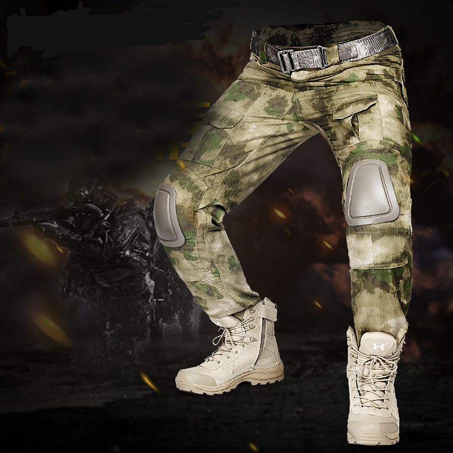 Three soldiers utdoors Camouflage Gen2 Tactical Cargo Pants With Knee Pads Army Training Military Pants Sports Hunting Trousers