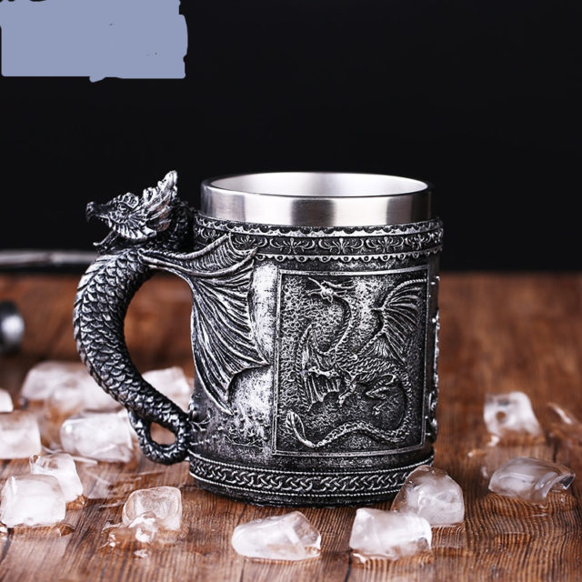 Retro Stainless Steel Skull Mug Coffee Cup